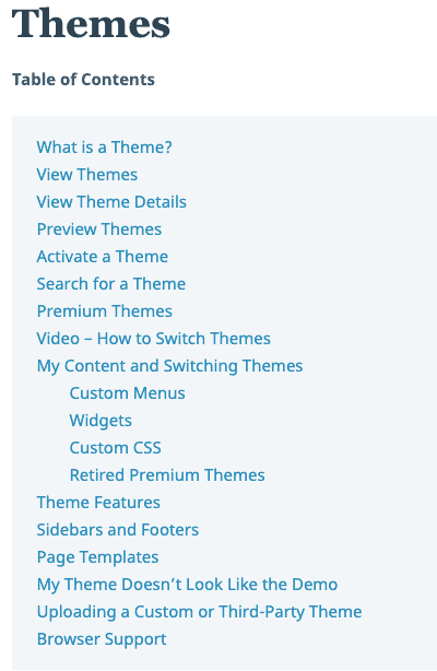 WordPress.com Support Center menu