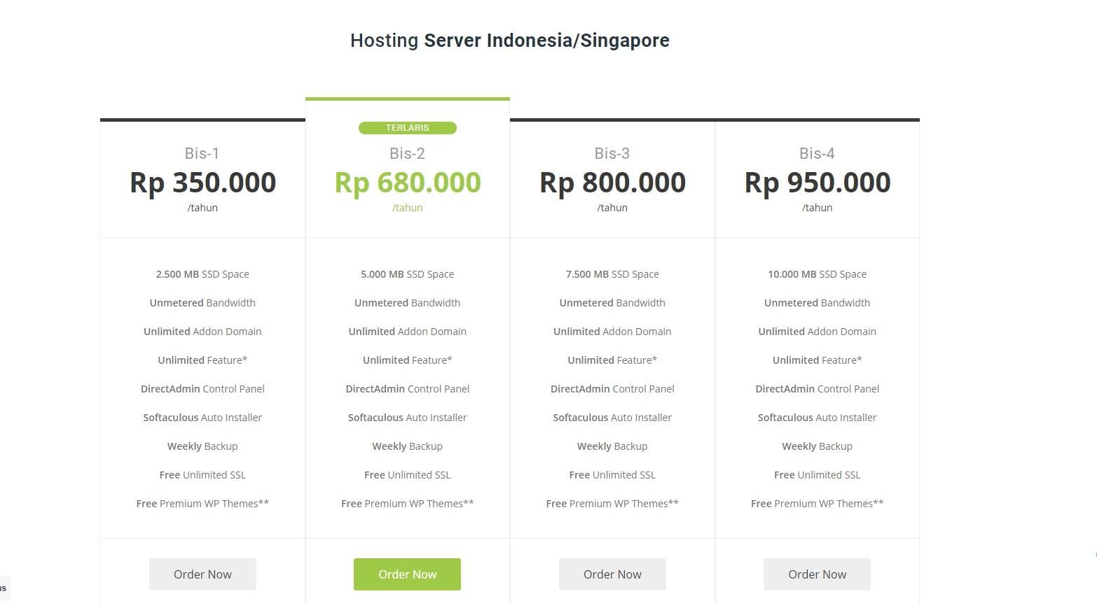 Daftar harga hosting murah DhyHost