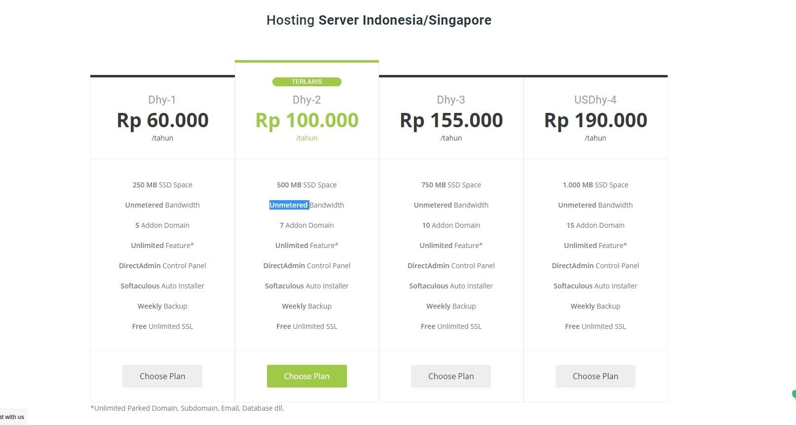 Daftar harga hosting DhyHost