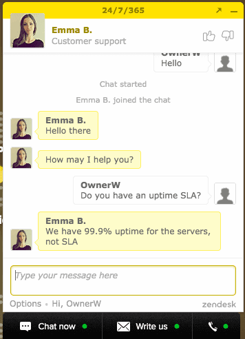 FastComet's live chat support