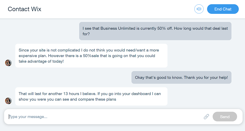 Wix live chat customer suppot