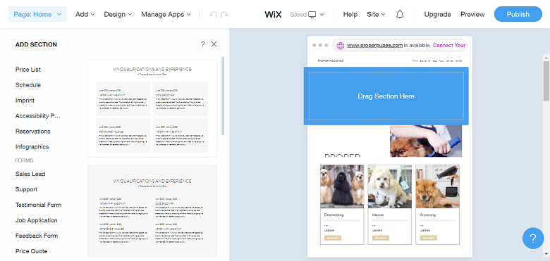 Wix editor adding new website section