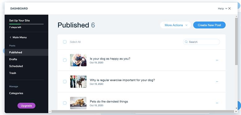Wix blog dashboard