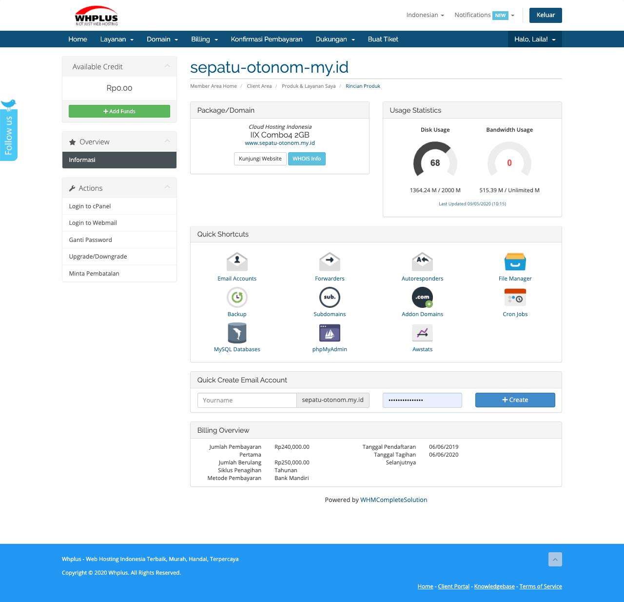 Client's Area Hosting WHplus