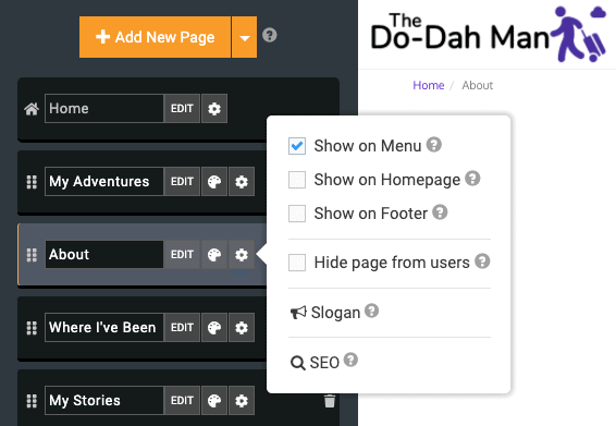 SITE123's interface for adding and reordering pages or sections