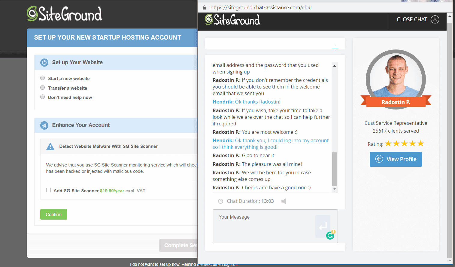 SiteGround's live chat support