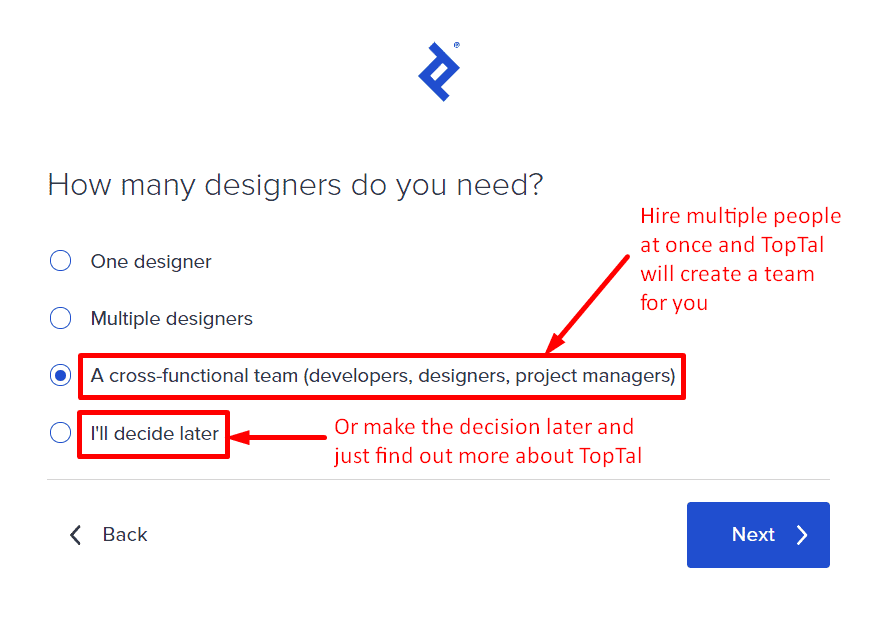 """How many designers do you need?"" multiple-choice question for clients hiring freelancers, Toptal"