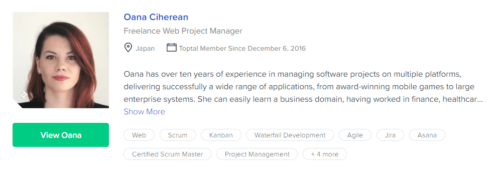 Oana Ciherean, Freelance Web Project Manager, freelancer profile on Toptal