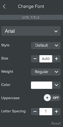 Font customization sidebar in the classic Weebly editor