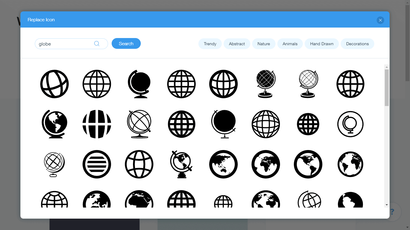 Wix Logo Maker screenshot - globe icons