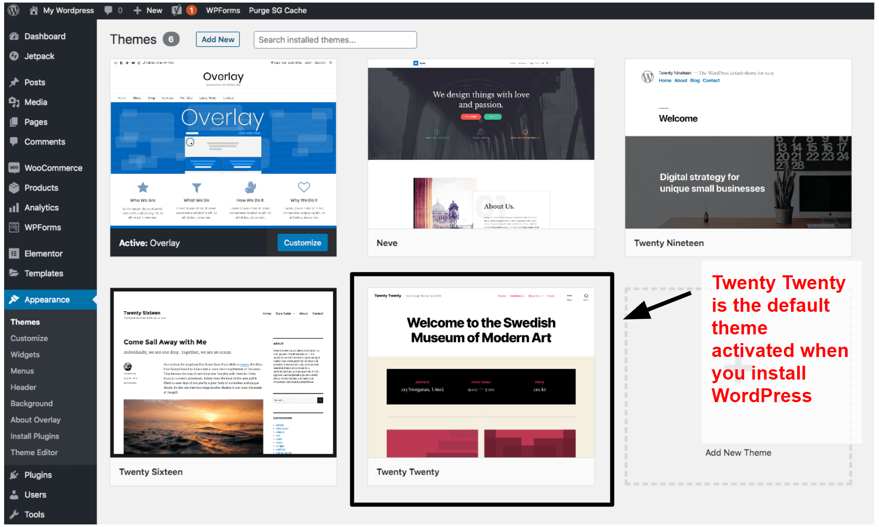WordPress themes panel