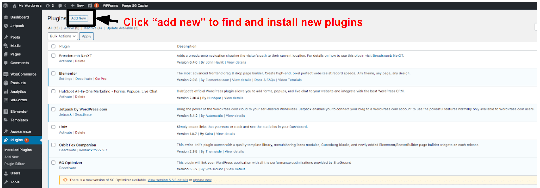 manage your installed plugins in WordPress