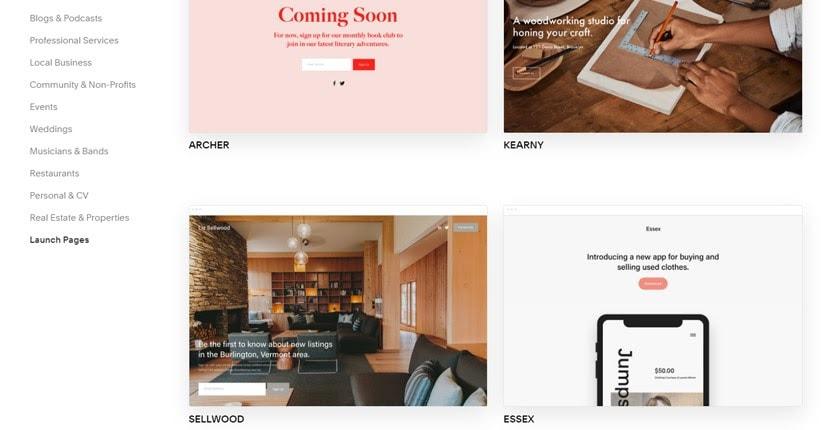 Squarespace - Launch Page Templates