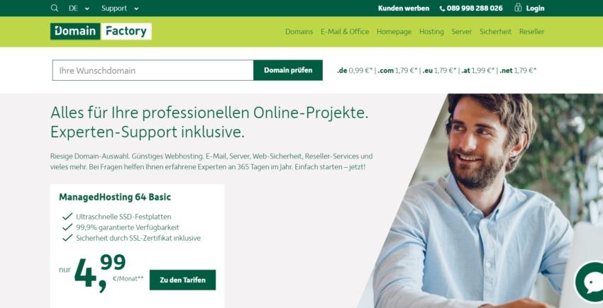 Titelseite von DomainFactory