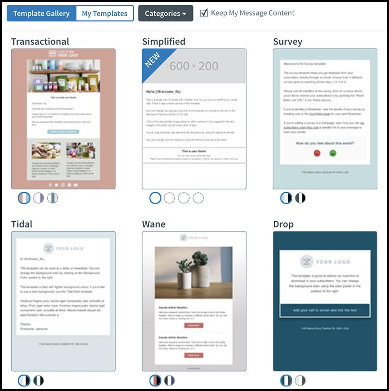 AWeber email template gallery