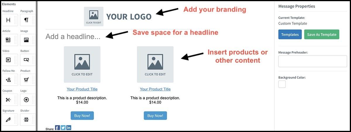AWeber custom email template builder