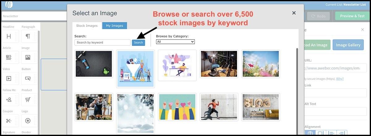 AWeber stock image gallery