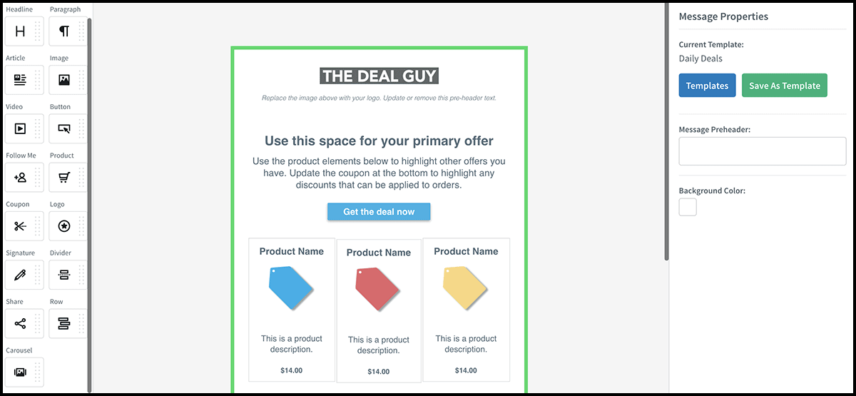AWeber Daily Deals email template