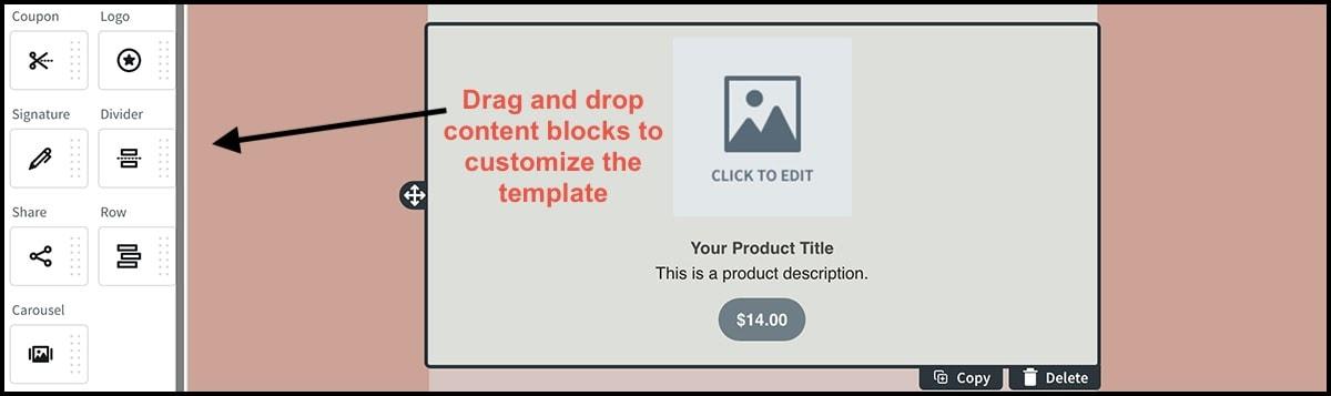 AWeber drag-and-drop editor