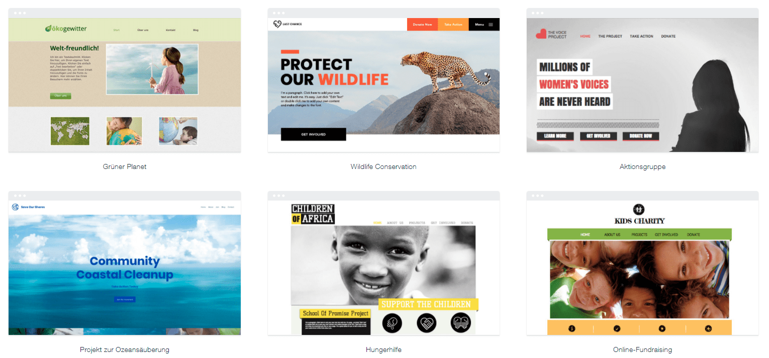 The templates in Wix's nonprofit category.