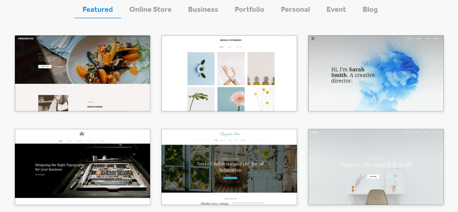 Featured Weebly themes