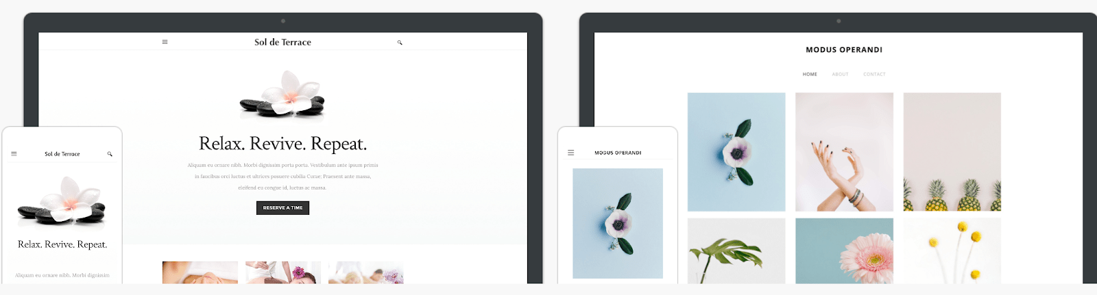Modus Operandi and Sol de Terrace Weebly themes