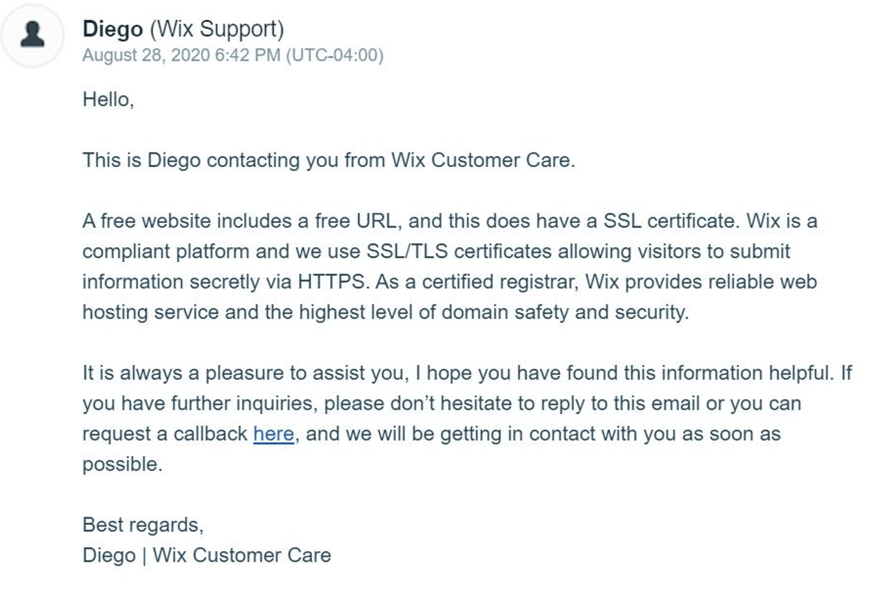 Wix customer support response