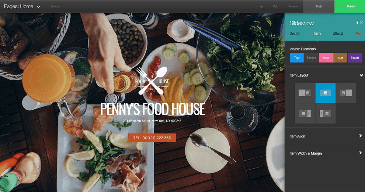 The FoodHouse template from BuildYourSite's gallery