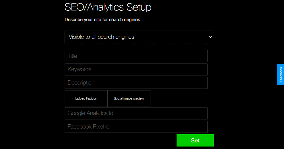 SEO settings in BuildYourSite