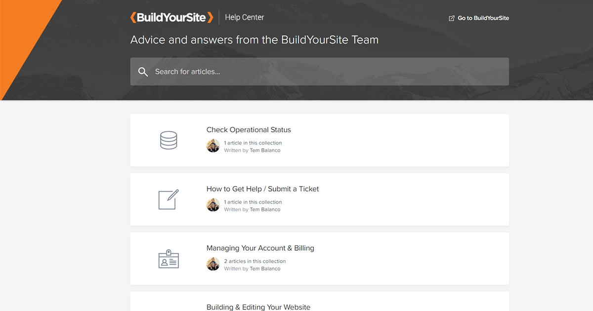 BuildYourSite's help center