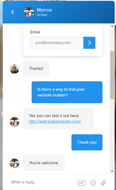 BuildYourSite customer support live chat