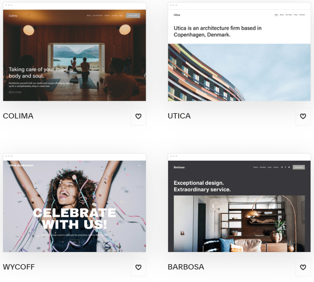 Popular Squarespace templates