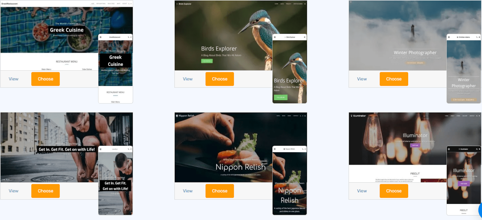 The SITE123 template library