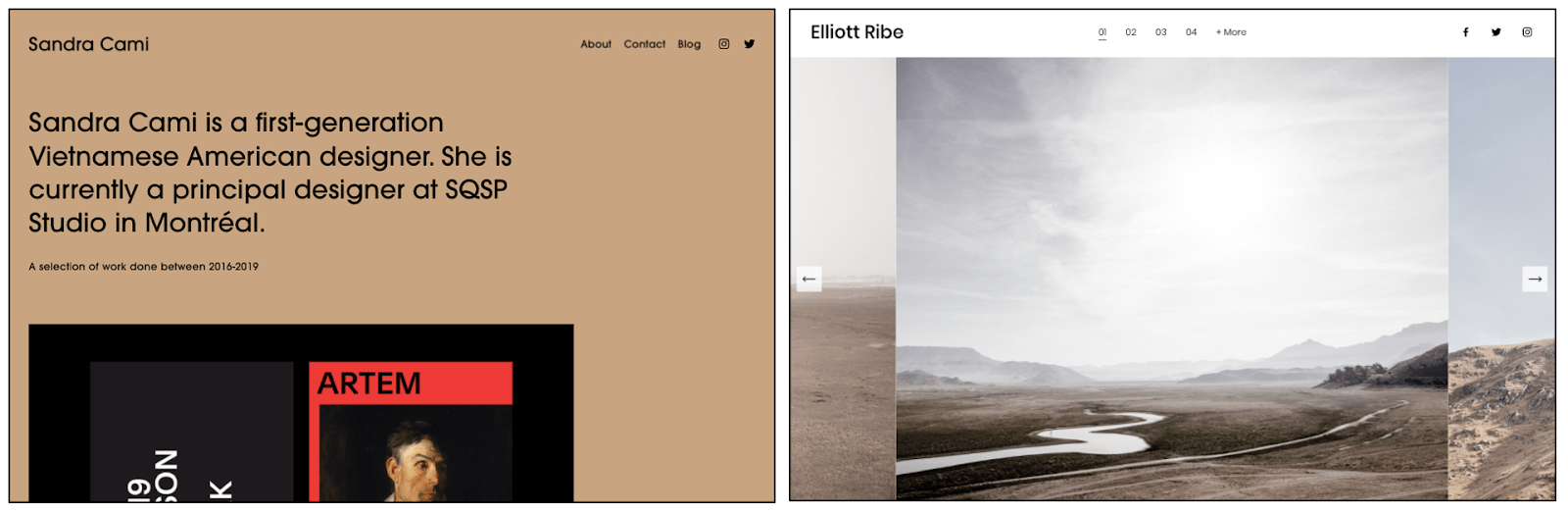 Squarespace templates that are not recommended for portfolios