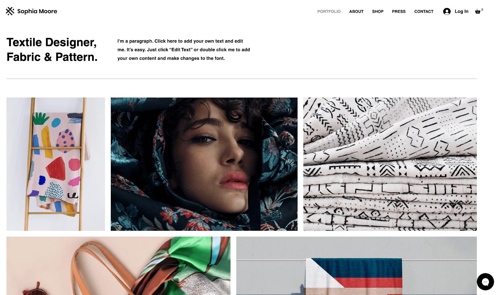 Wix Textile Designer Template