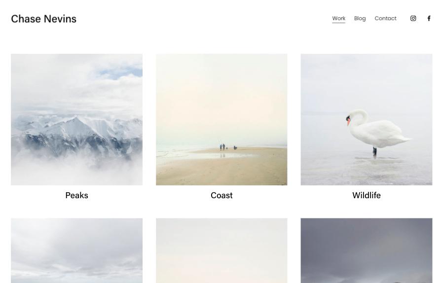 Squarespace Nevins portfolio website template