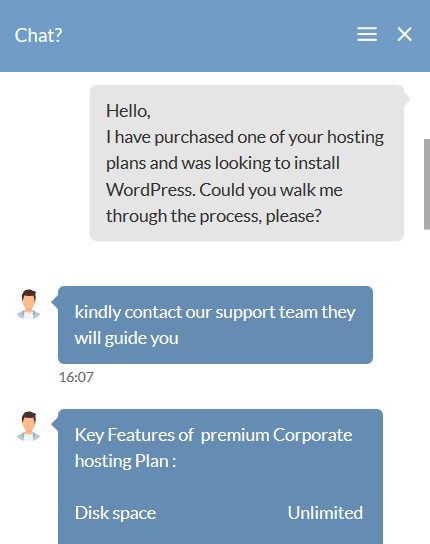 HostingRaja support chat