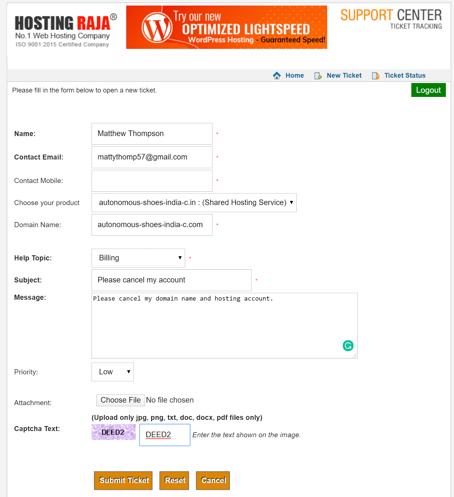 HostingRaja support ticket form