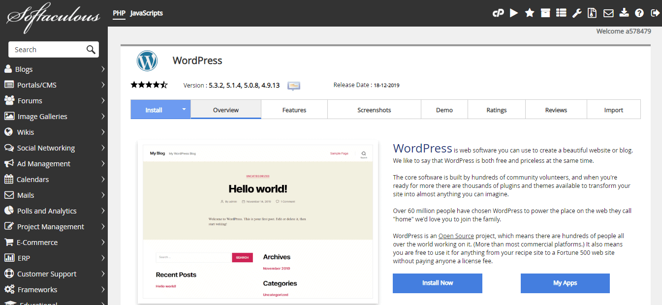 Softaculous WordPress install screen