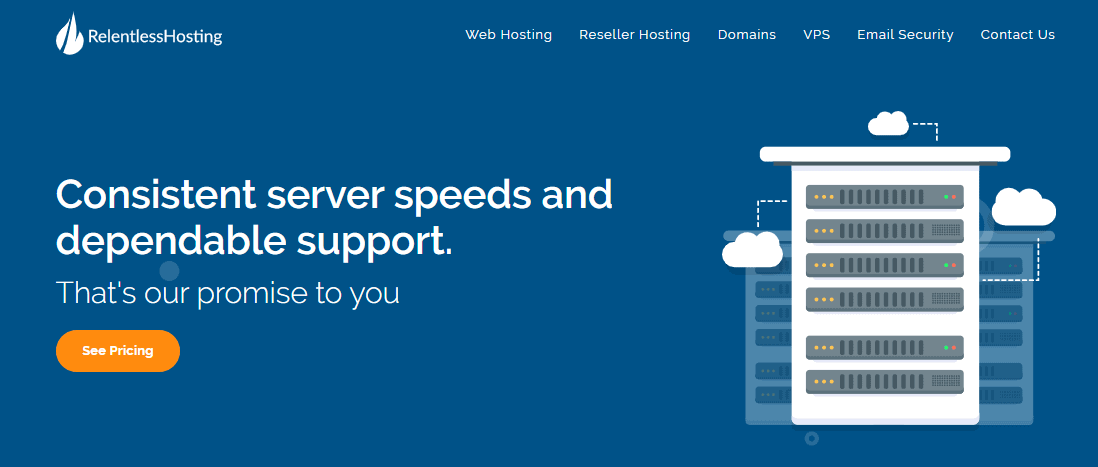 Relentless Hosting home page