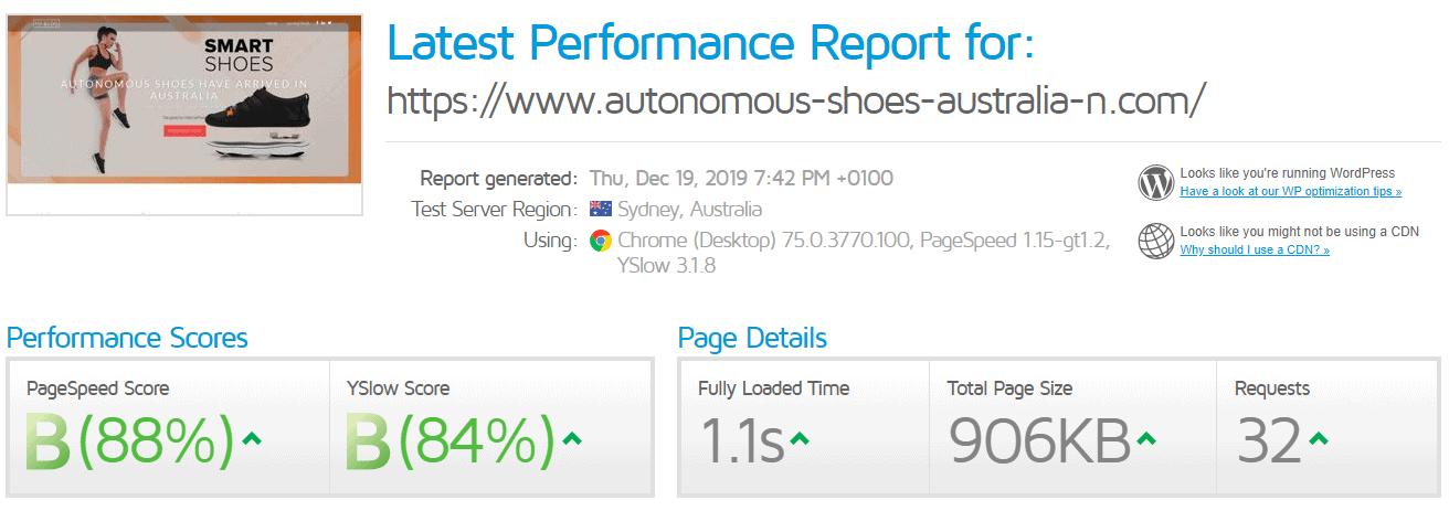 GTmetrix page speed test results