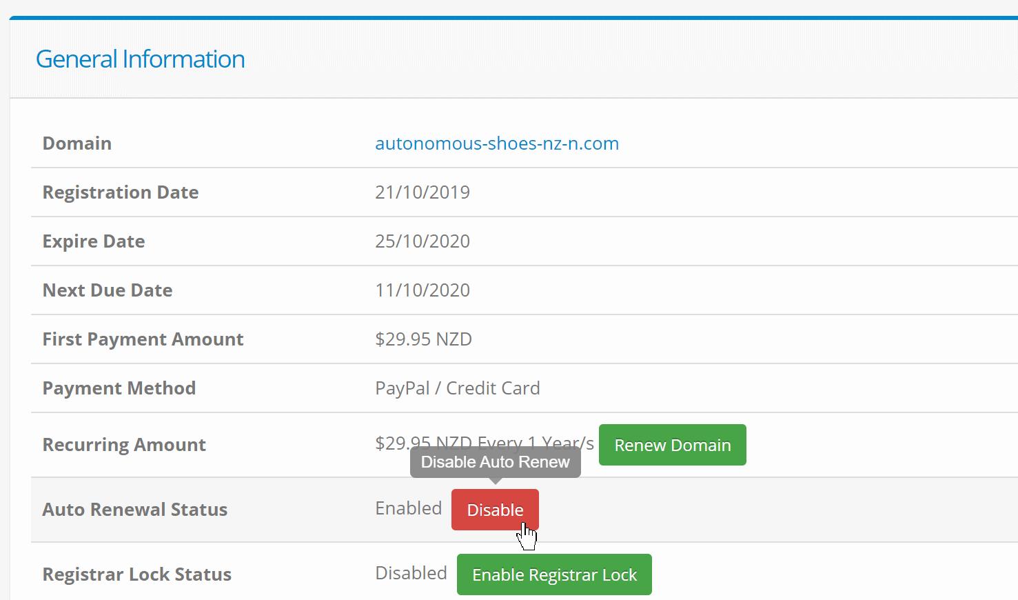 VPS City - Disable domain renewal