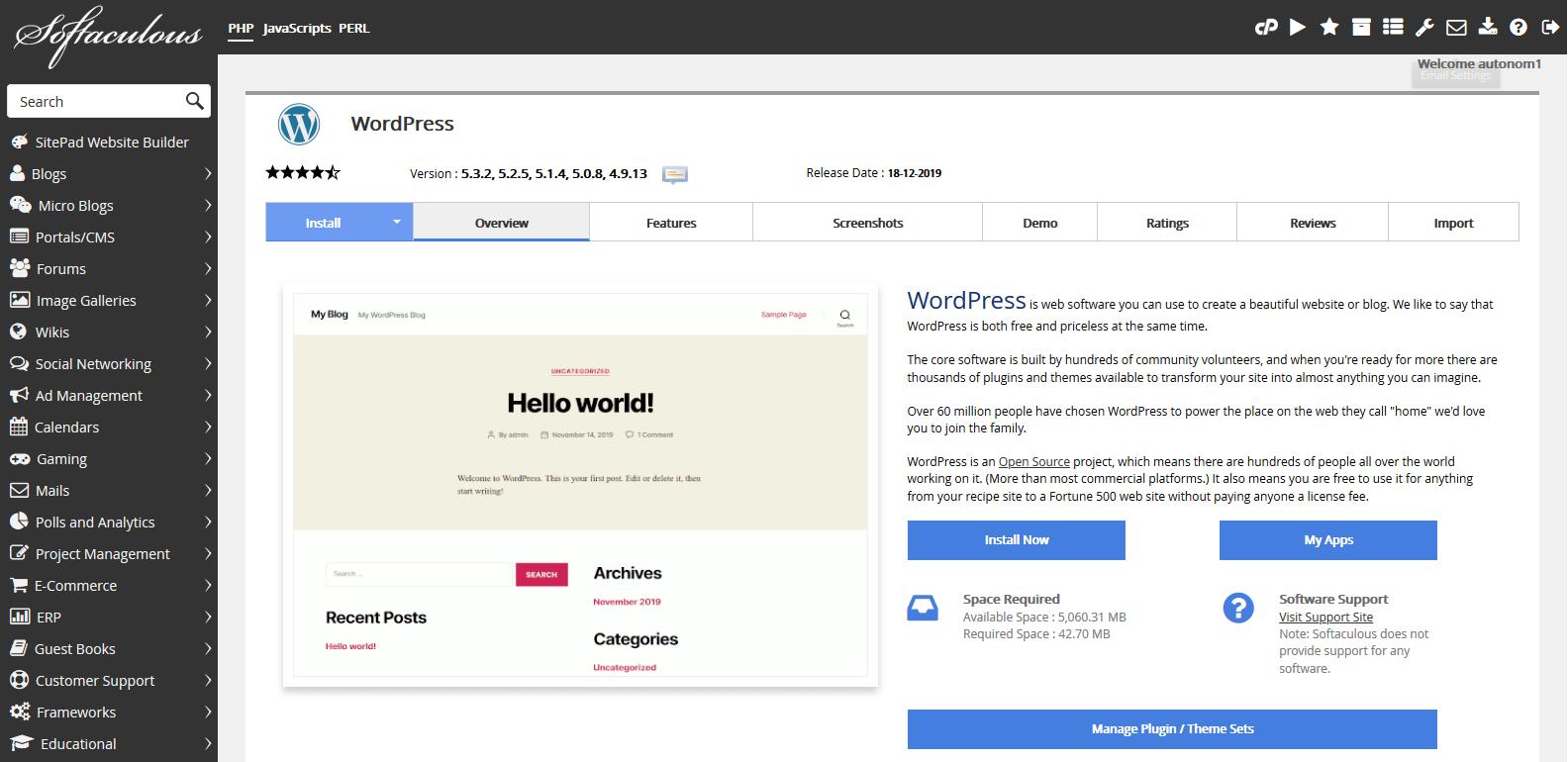 VPS City - WordPress 1-click installer