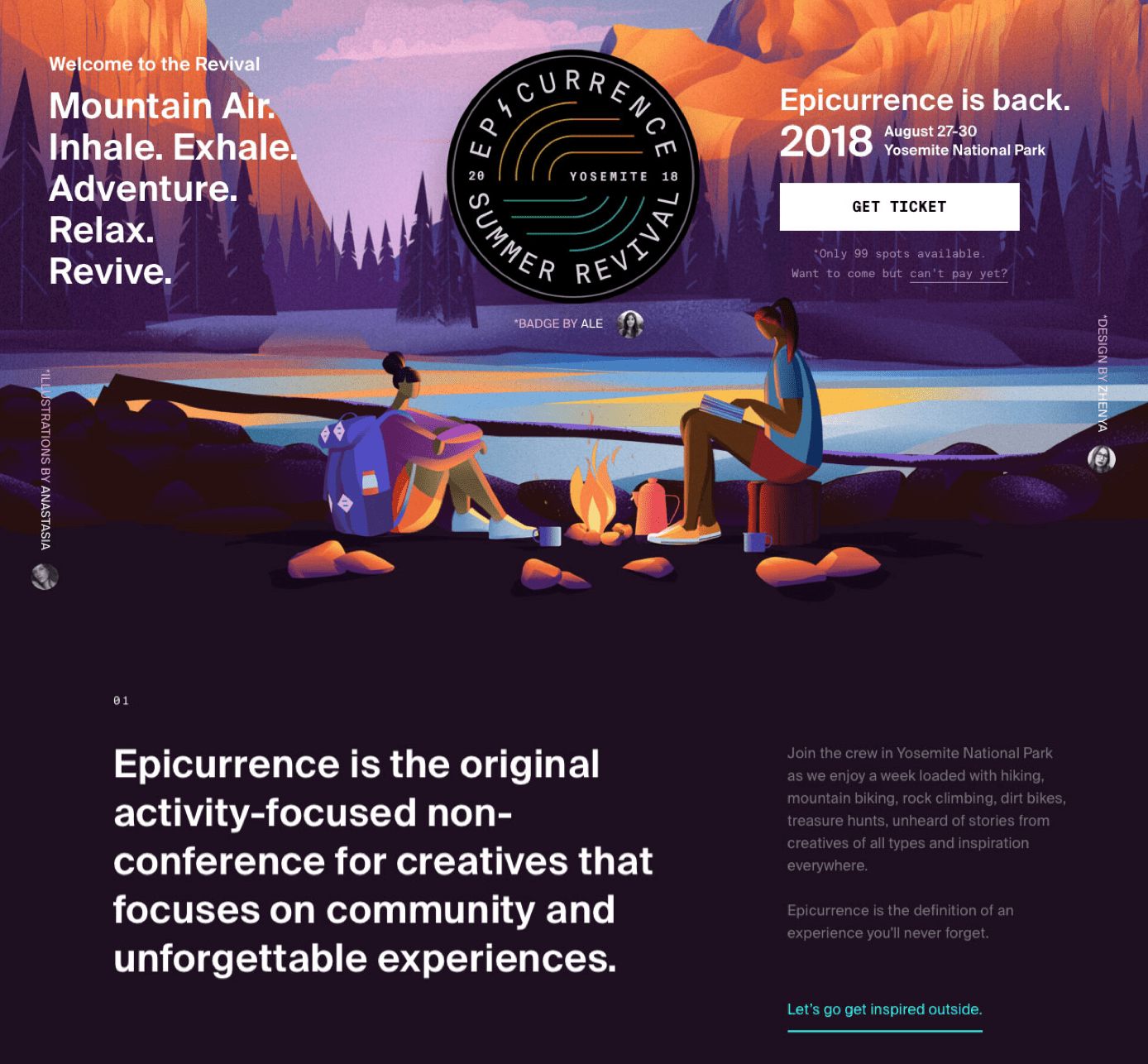 Event landing page example - Epicurrence