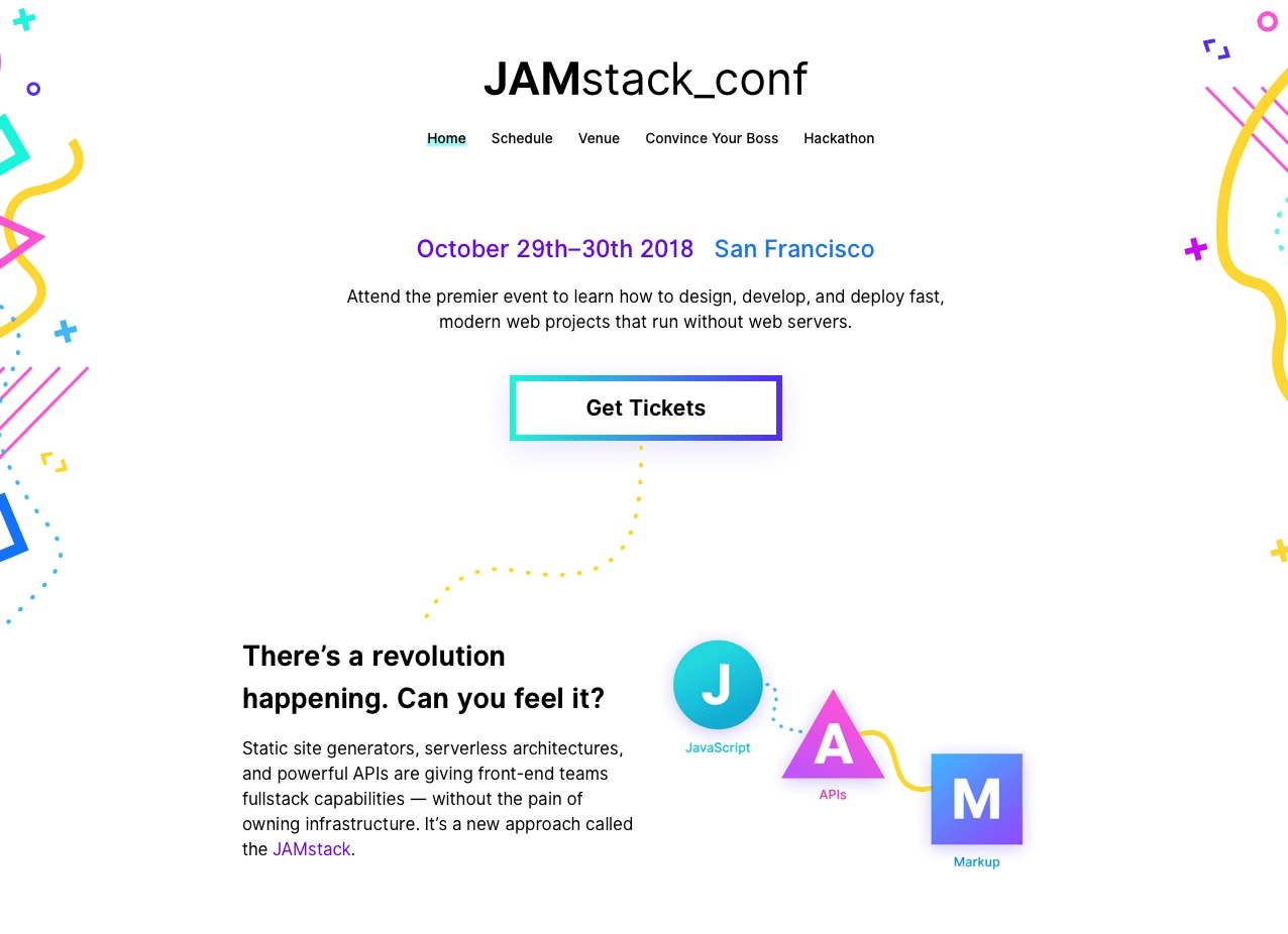 Event landing page example - JAMstack_conf
