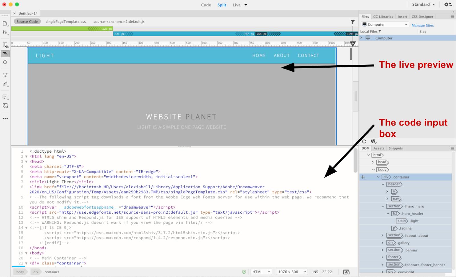 Dreamweaver dashboard - live HTML editor view