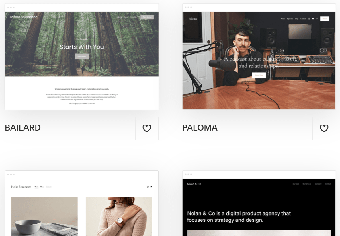 Squarespace featured templates