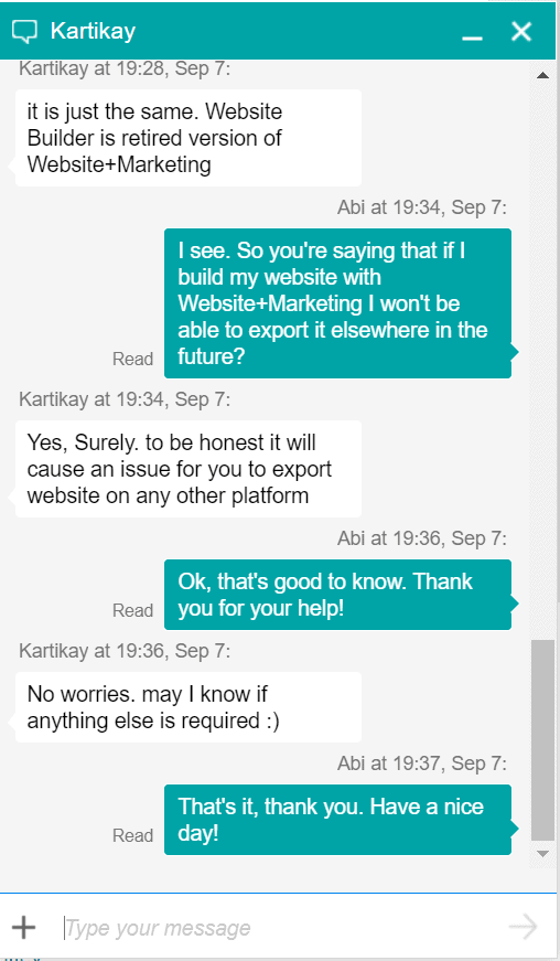GoDaddy live chat support