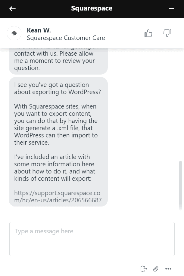 Squarespace live chat support
