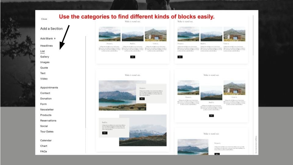 The UI for choosing blocks in Squarespace